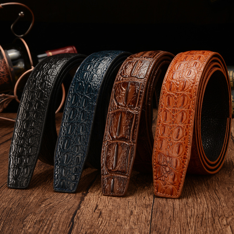 Designer Belts Men High Quality Genuine Leather Crocodile Grain Strap Luxury No Buckle Business Automatic Belt Ceinture Homme