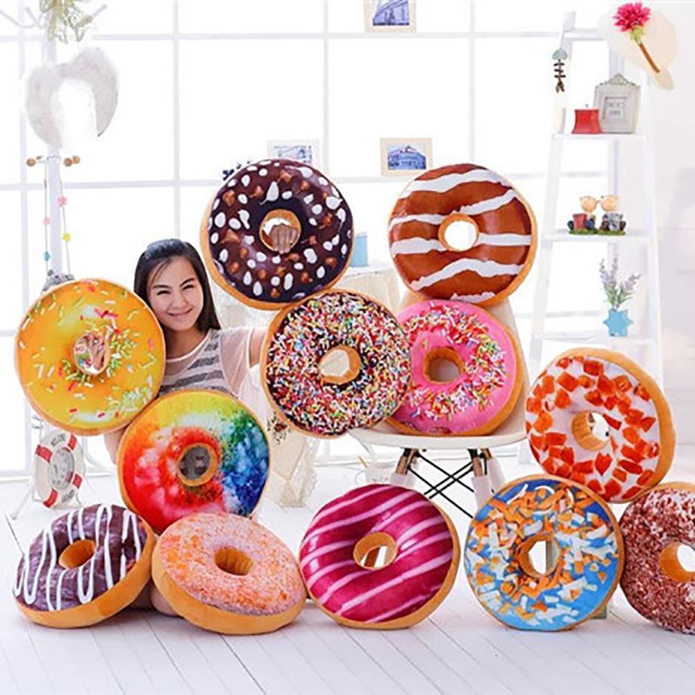 3D Creative Plush Donut Food Stuffed Pillow Sofa Chair Back Car Cushions Mat Cute Simulation Cushion Soft