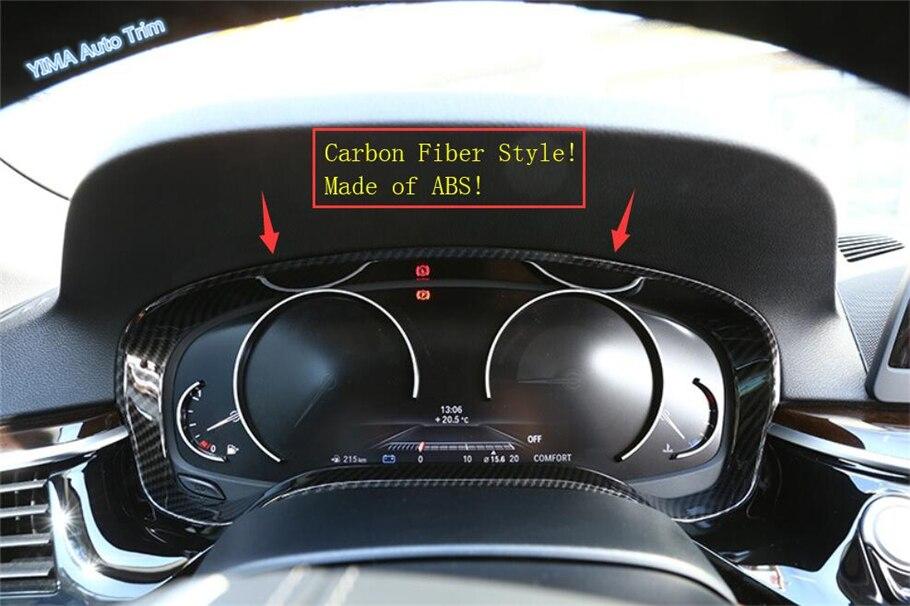Garniture de couverture d'anneau d'instrument de tableau de bord de couleur de Fiber de carbone de style automatique de Lapetus 1 pièces pour BMW série 5 G30 530I 2017 2018 2019 ABS - 3