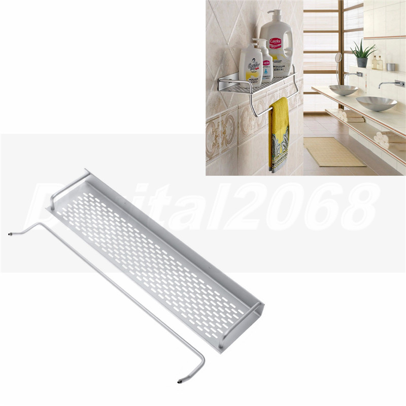 Free Shipping Single Tier Bathroom Aluminium Shelf With Towel Bar Rack Wall Mounted Kitchen Storage Organizer Shelves 50*12*12CM suction cup towel rack kitchen bathroom towel shelf towel rod single corner towel bar stainless towel rack with hook