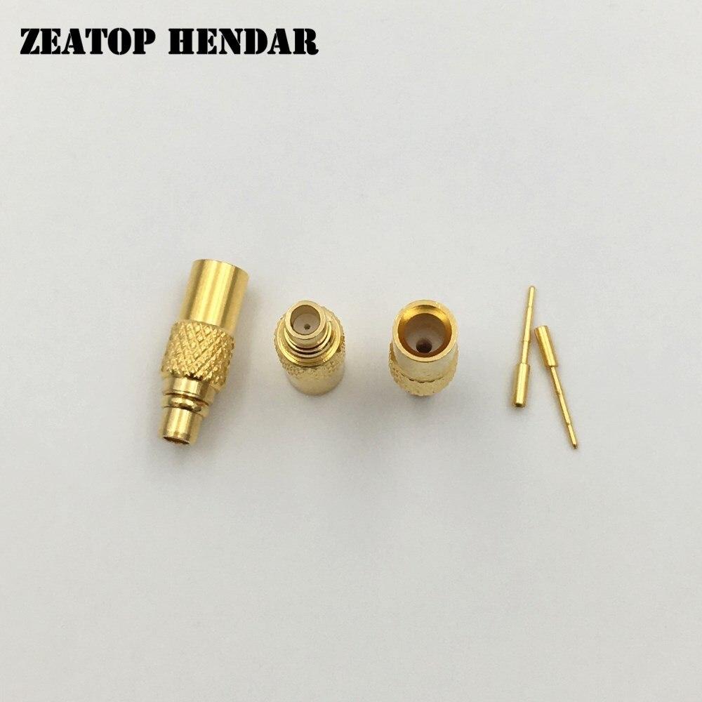 50Pcs Brass MMCX Male Pin Plug Gold plated Solder Adapter Straight for Semi rigid Semi Rigid