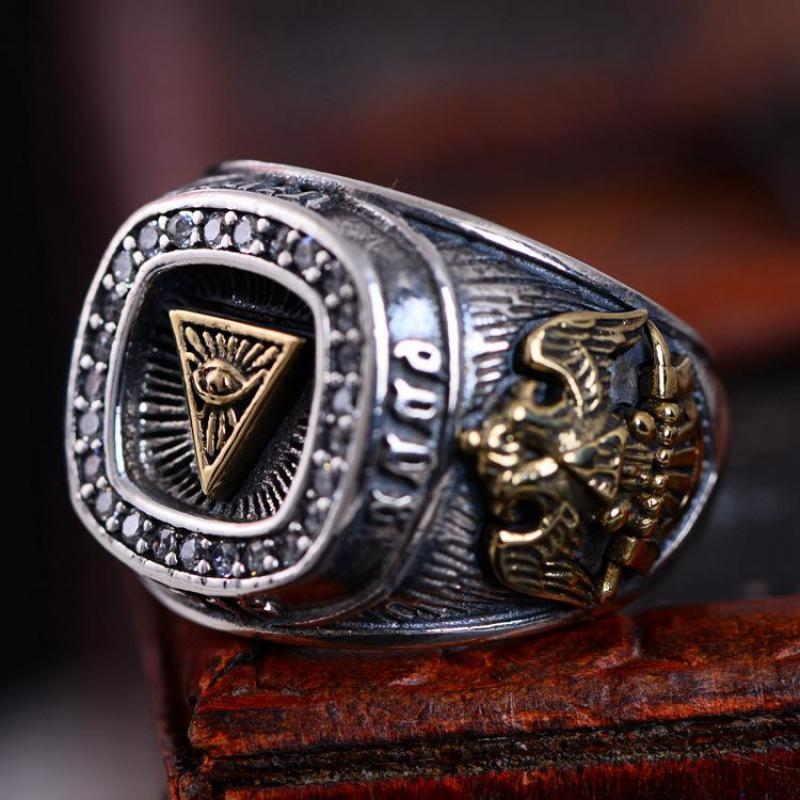 Guaranteed 925 Sterling Silver Vintage Mens Ring Engraved God Eye Paved CZ Stone Biker Rings Personalized Exaggerated Adjustable a suit of vintage engraved rivet rings