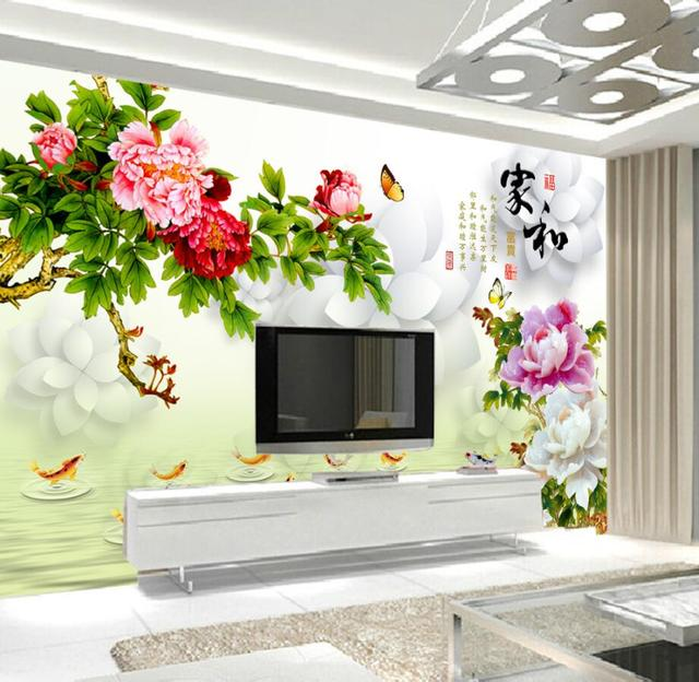 beibehang Custom Wallpaper Home Decorative Mural Painting Hand Peony ...