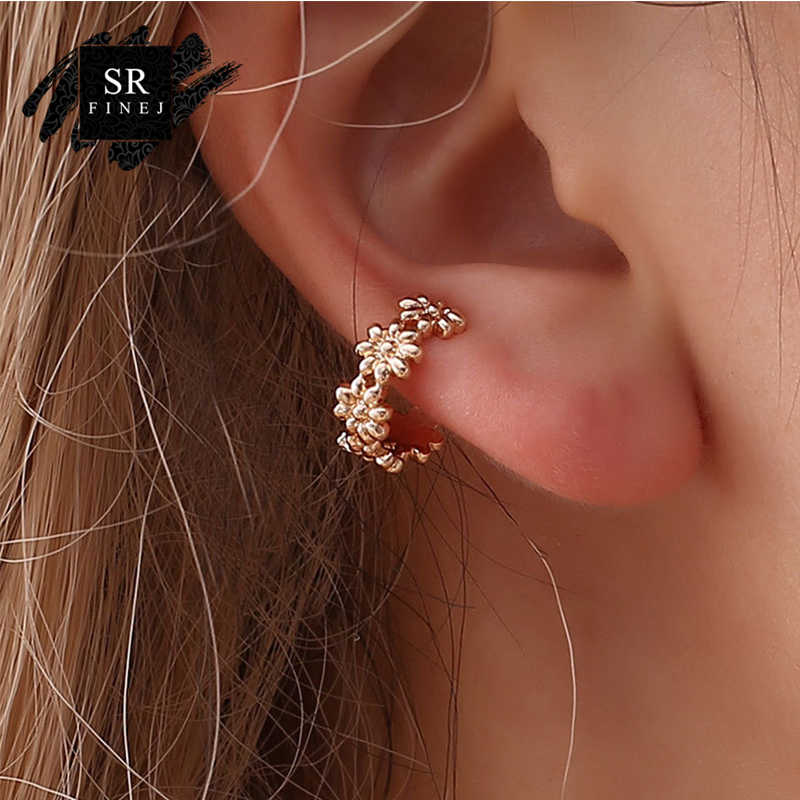 SR:FINEJ Clip-on Earrings No Pierced Non-piercing Earcuff Ear Clip Earrings Without Piercing Gold Black Flower bijoux femme YY