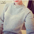 Loose Korean Knitted Women Sweater Beading O-Neck Solid Casual Slim Ladies Cashmere Sweater Pullover Spring Autumnn Winter 2016