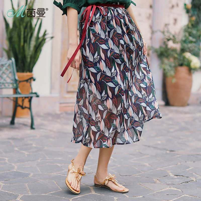 Inman Chiffon Skirt New Arrival Retro Artistic Women Skirt Floral Printing Female Long Skirt