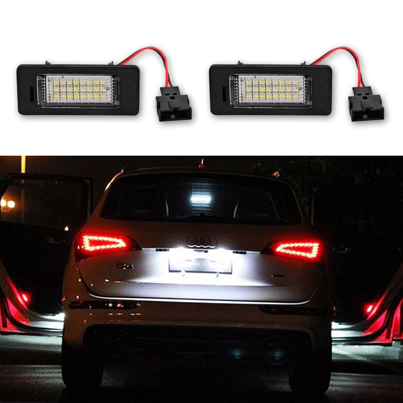 2Pcs LED License Plate Lights SMD3528 24Leds 6000K Number Plate Lamp Daytime Running Lights For A4 A5 Q5 TT TT-RS S4 PASSAT VW rs 2pcs 139