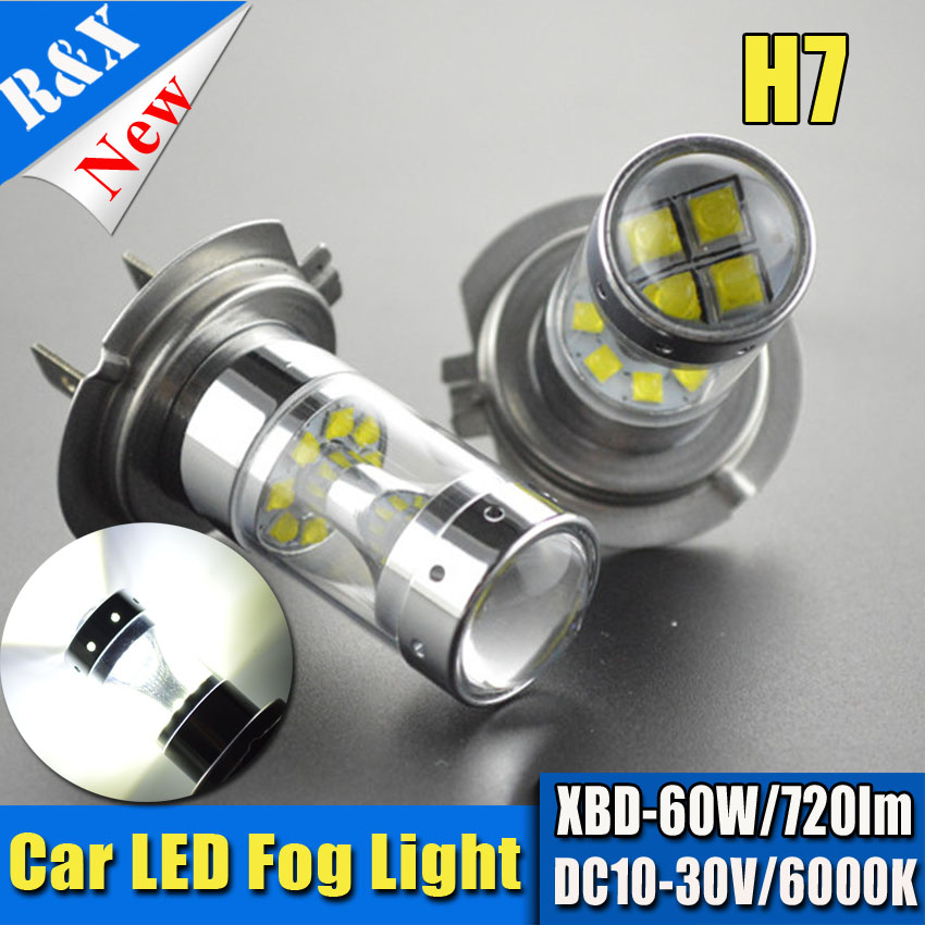 2pcs 60W 10-30VDC Car Light Source Error Free H7 Canbus 12SMD XBD LED Light Bulb Auto Car Daytime Running light Fog lights DRL sncn led daytime running light for toyota corolla 2017 2018 car accessories waterproof abs 12v drl fog lamp decoration