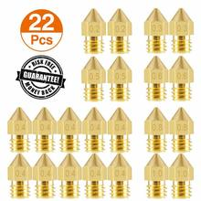 22pc 3D Printer Nozzle MK8 Extruder Nozzle Extruder Print Head 1.75mm for 3D Printer Anet A8 Makerbot MK8 Creality CR-10 Ender 3