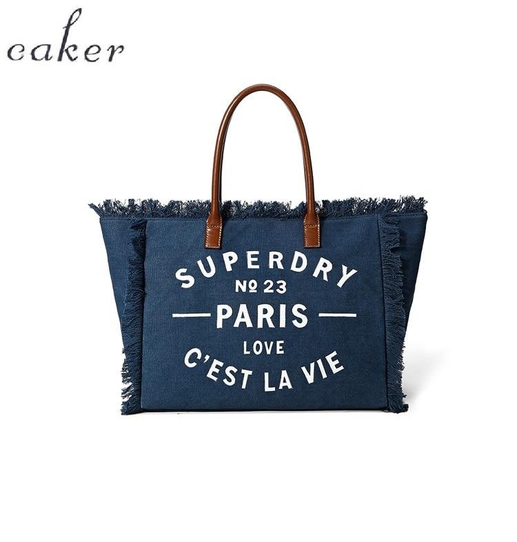 Caker Brand 2018 Women Large Big Canvas Bag Letter Print Tassel Blue Elegant Ladies Bags Customization Women's Shoulder Bags цена 2017