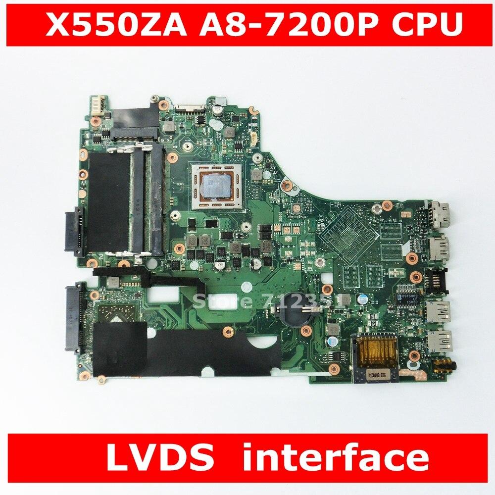 X550ZA A8-7200P CPU Mainboard For ASUS X550ZA X550ZE X550Z X550 K550Z X555Z VM590Z Laptop Motherboard LVDS GM 100% Tested