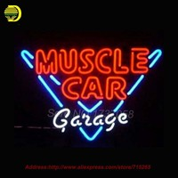 MUSCLE CAR GARAGE Neon Sign Glass Tube Neon Handcrafted Affiche Neon Signs Window Light Recreation Home