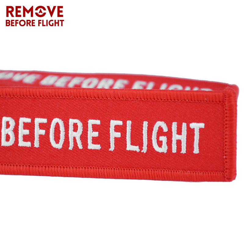 Remove Before Flight Key Chain Chaveiro Red Embroidery Keychain Ring for Aviation Gifts OEM Key Ring Jewelry Luggage Tag Key Fob4