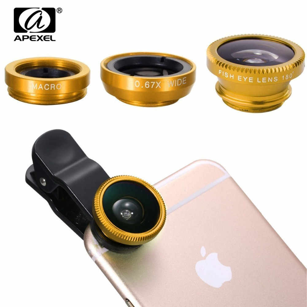 APEXEL 3-in-1 0.67x Wide Angle Macro Fisheye Lens Camera Kits Mobile Phone Lenses with Clip for iPhone Samsung All Cell Phones