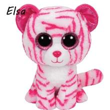 Original Ty Beanie Boos Big Eyes Plush Toy Doll Pink Leopard TY Baby Kids Gift 10-15 cm WJ159