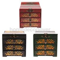 Vintage Wooden Chest Home Keepsake Decor Woman Make Up Dresser for Jewelry Necklace Case Box