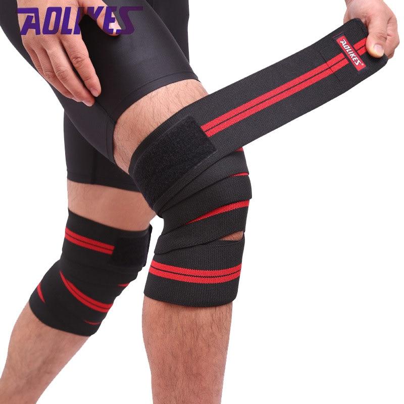 AOLIKES 2 Pcs/lot 2M*8CM Fitness Pressurized Straps Gym Weight Lifting Leg Knee Compression Training Wraps Elastic Bandages
