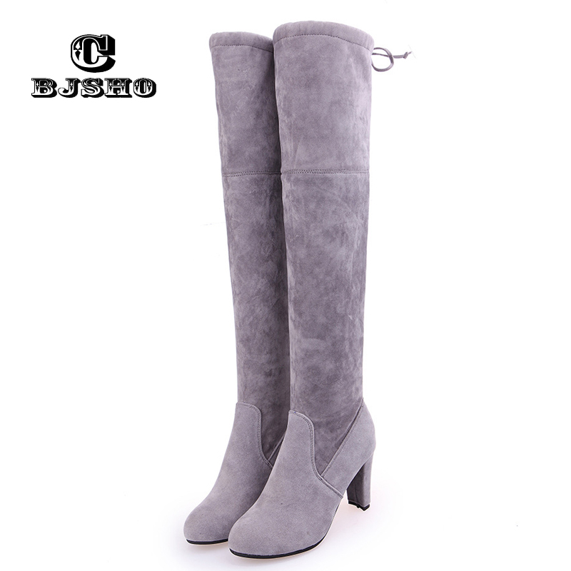 CBJSHO Fashion Women Over The Knee Boots Sexy Square High Heel Autumn Winter Thigh High Boots For Women Grey Shoes Platform Knee 2016 new autumn winter over the knee casual women boots plus size boots for women fashion sweet lady shoes high thigh knee