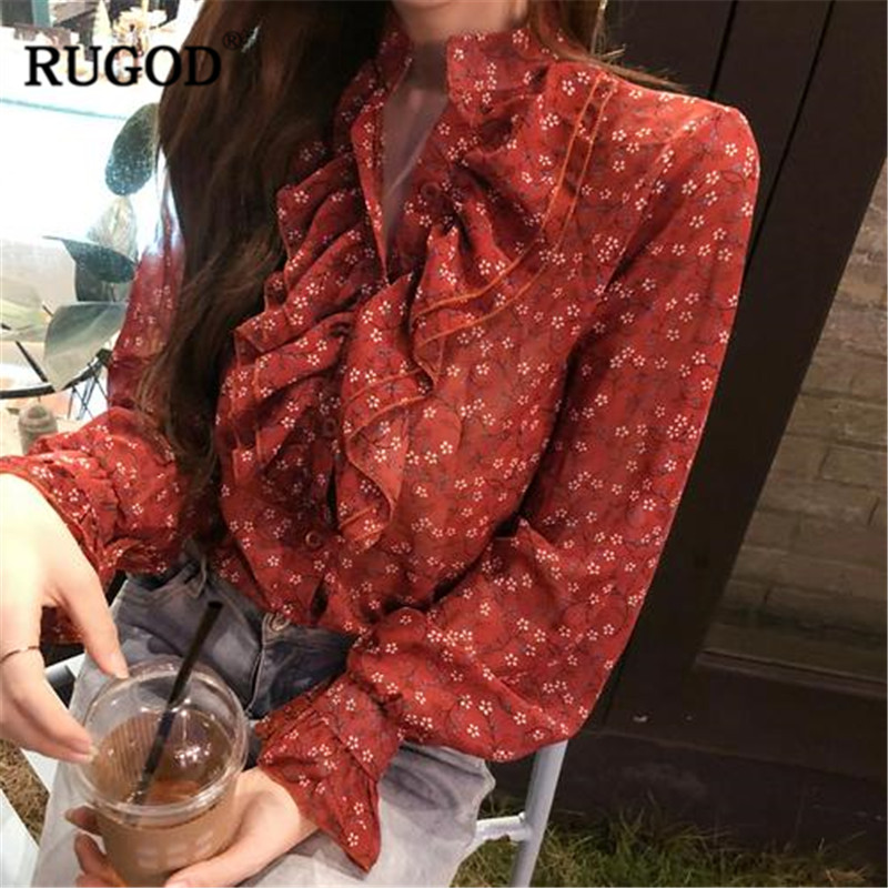 RUGOD Vintage Floral Printed Chiffon Shirts Spring 2019 Women's Clothes Ruffles Flare Sleeve Ladies Shirts Office Wear Female