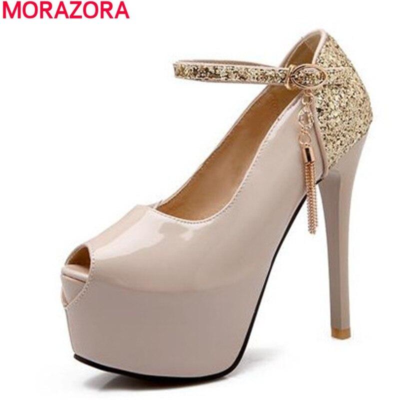 MORAZORA new fashion nude pumps peep toe platform pumps women high quality patent leather high heels bridals wedding shoes woman