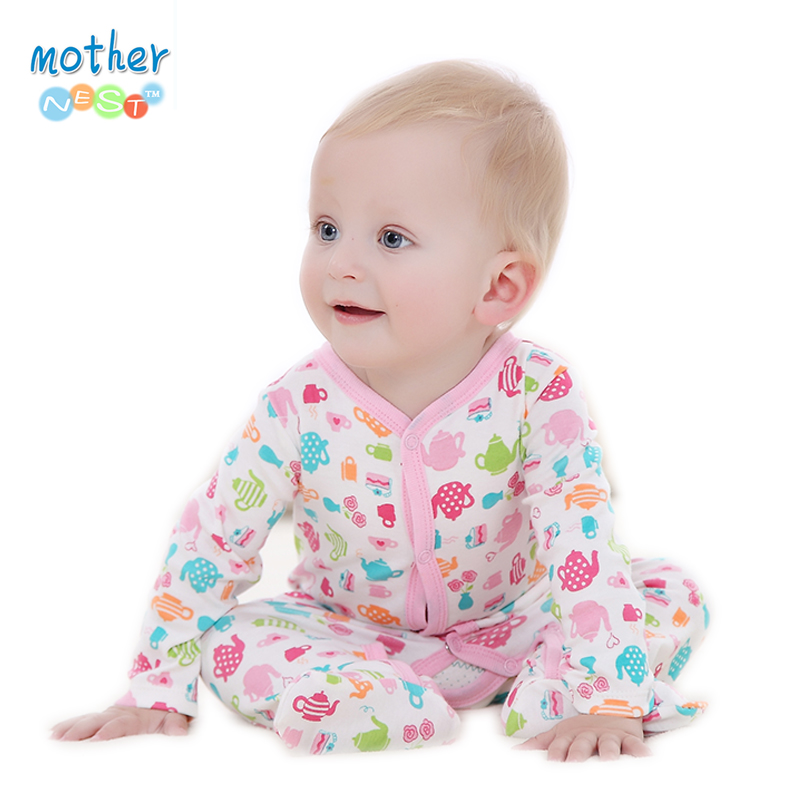Baby Boy Girl Footies Pajamas Original Cotton Spring Sleepwear 1piece Pja Mother Nest Animal Christmas Coverall 1pcs cute baby panda animal coverall clothing cotton padded winter footies n01