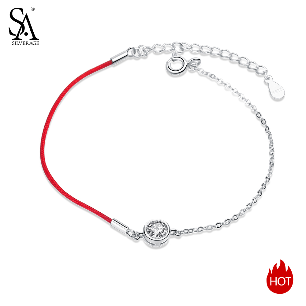 SA SILVERAGE New Fine Jewelry Silver Chain Link Bracelet Pulseiras 925 Sterling Silver Red Charm Bracelets Bangles for Women in Bracelets Bangles from Jewelry Accessories