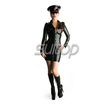 Latex Army dress lady's rubber military uniforms SUITOP FOR WOMAN not including caps