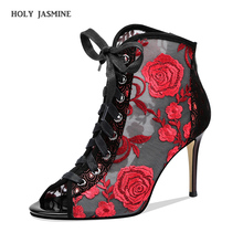 2019 Summer New Design Women Elegant Open Toe Mesh Short Boots Embroidery Lace Thin Heels Ankle Booties Wedding High Heel Boots new design women elegant black suede leather patchwork lace up chunky heel short boots open toe thick heel ankle booties