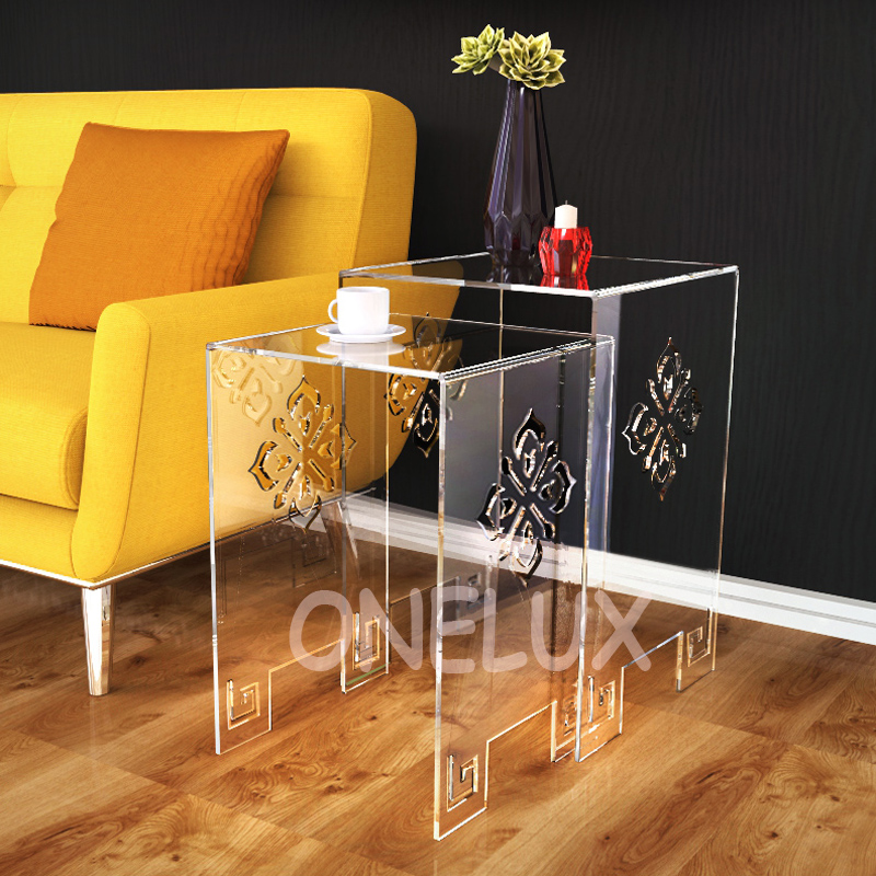 (2 Pieces/lot) Waterfall Engraved Acrylic Nesting Side Table,Lucite Occasional Sofa Riser Tables - ONE LUX