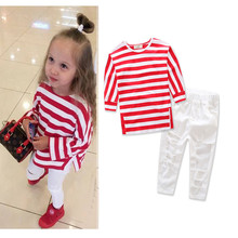 2017 Girls Long Sleeve Striped T Shirt +White Holes Denim Jeans Long Pants 2Pcs Sets 2-8Years Children Girls Clothing Sets zero