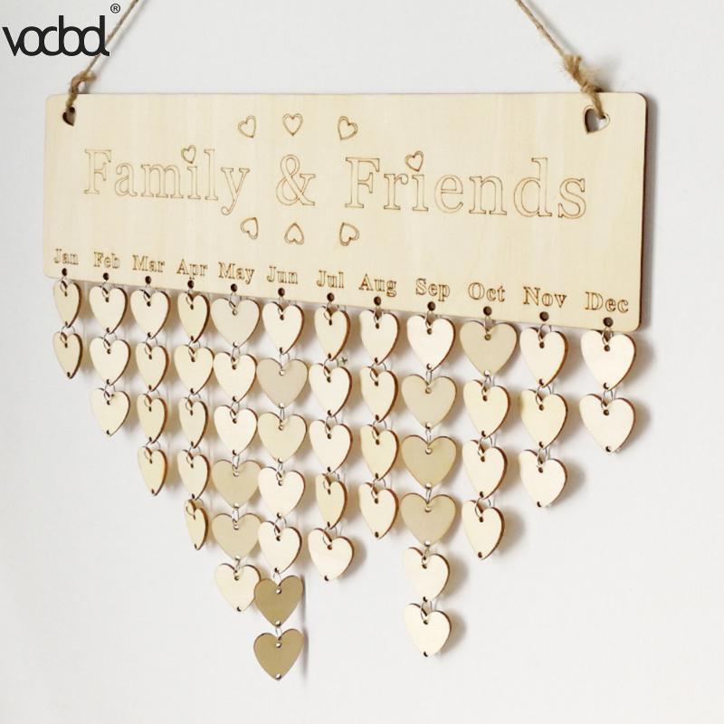 VODOOL DIY Wooden Calendar Friends&Family Heart Printed Wall Calendar Sign Special Dates Reminder Board Home Hanging Decor Gifts