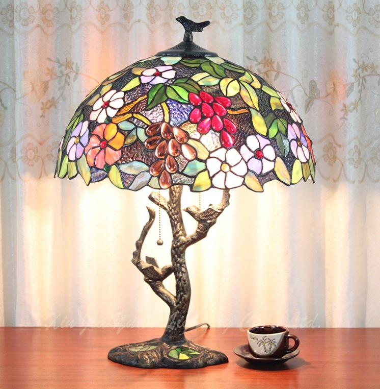 16 inch European style Tiffany grape bedroom study living room cafe bar decorative zipper Desk Lamps Iron bird base dia40CM