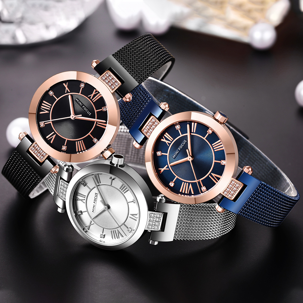 Image 5 - MINI FOCUS Quartz Women Watches Blue Ultra Thin Mesh Strap Clock Crystal Roman Numeral Minimalist Dress Ladies WristwatchesWomens Watches   -