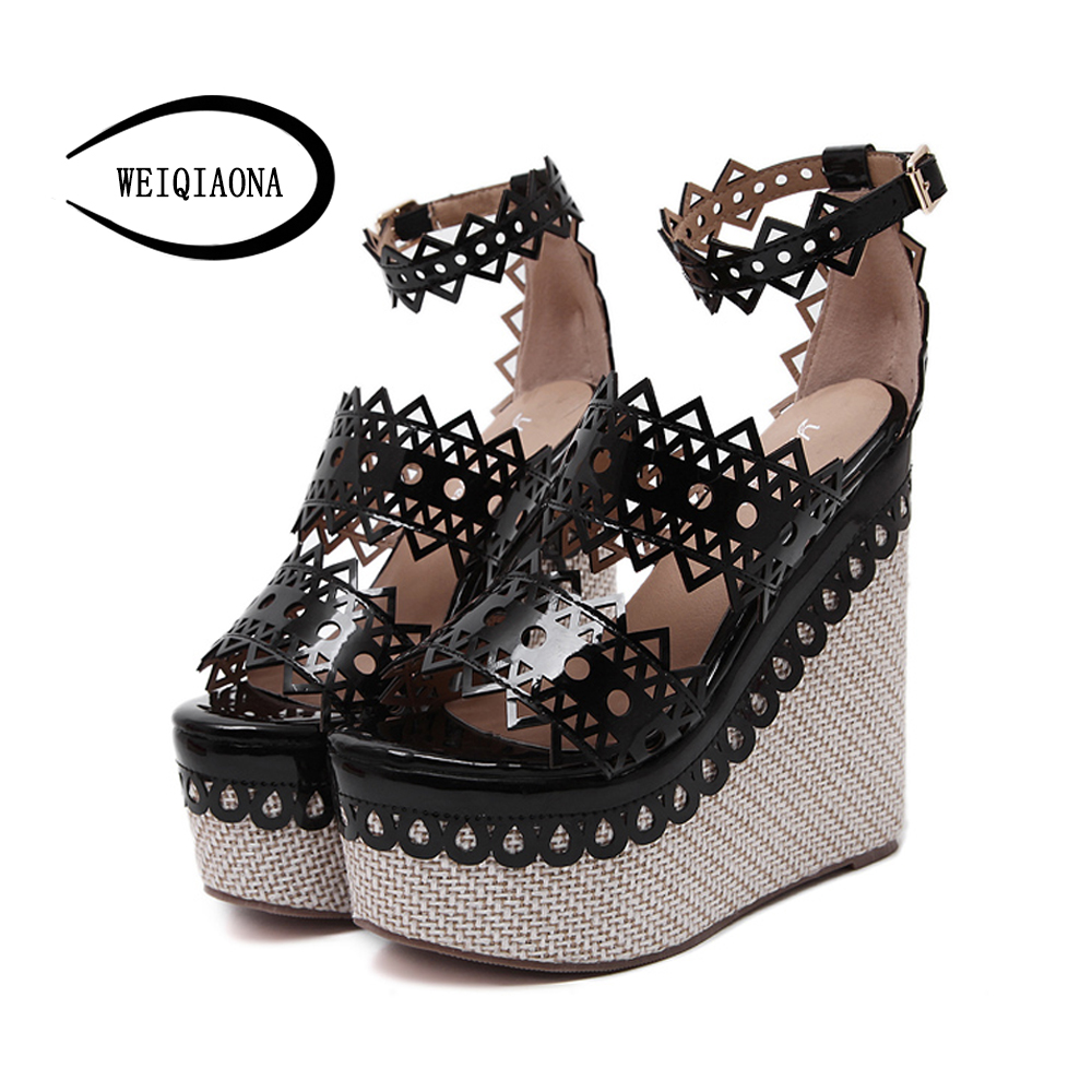 1df0ffa84bd US $29.98 |WEIQIAONA New summer Women black red Wedges Sandals Fashion  Super High Heels Platform open toe elegant Ladies High Heeled Shoes-in High  ...