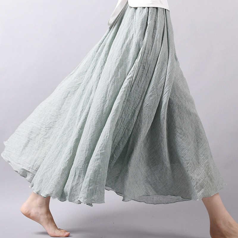 Модная женская юбка, однотонные юбки длиной до лодыжки с высокой талией, Женская мода 2019, Весенняя повседневная юбка в складку для женщин 2976 50