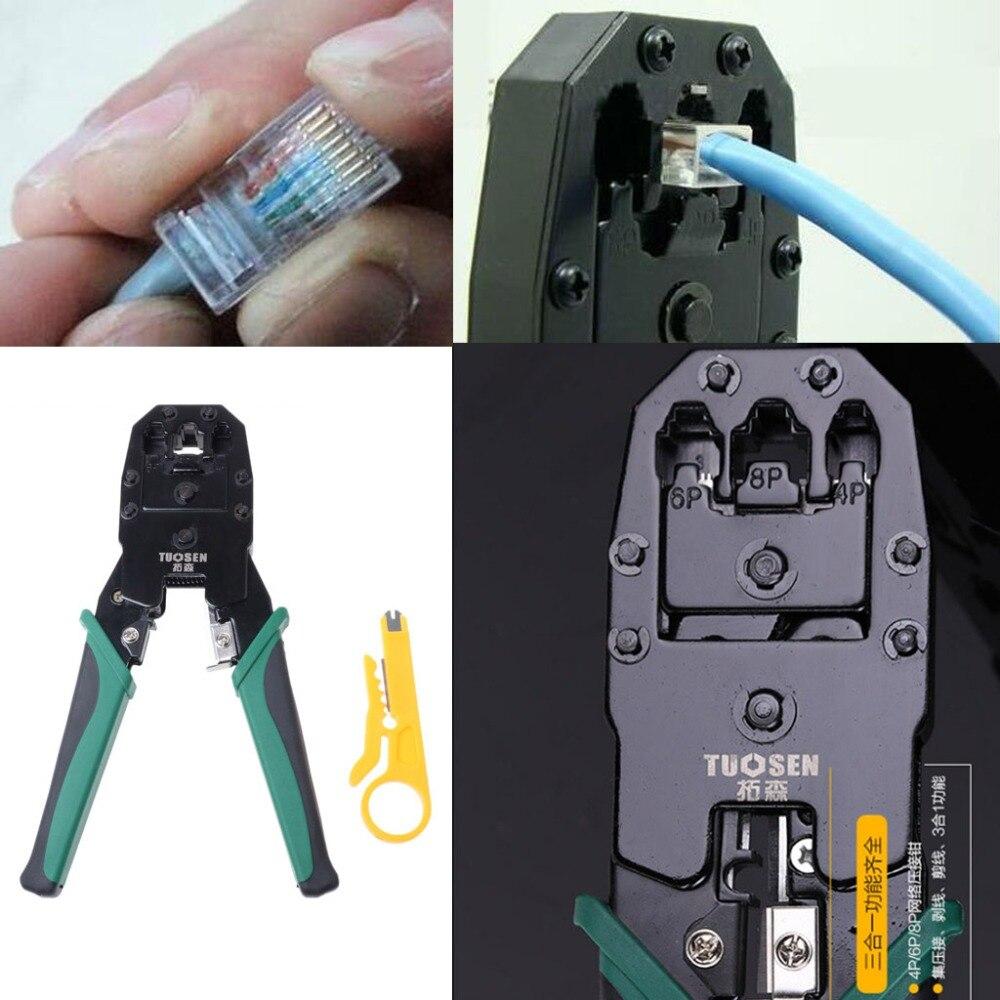 RJ45 RJ11 RJ12 Cat 5/5e Network LAN Cable Crimping Pliers Hand Tool For 4P 6P 8P 24 pcs rj45 modular network pcb jack 56 8p w led 4 ports