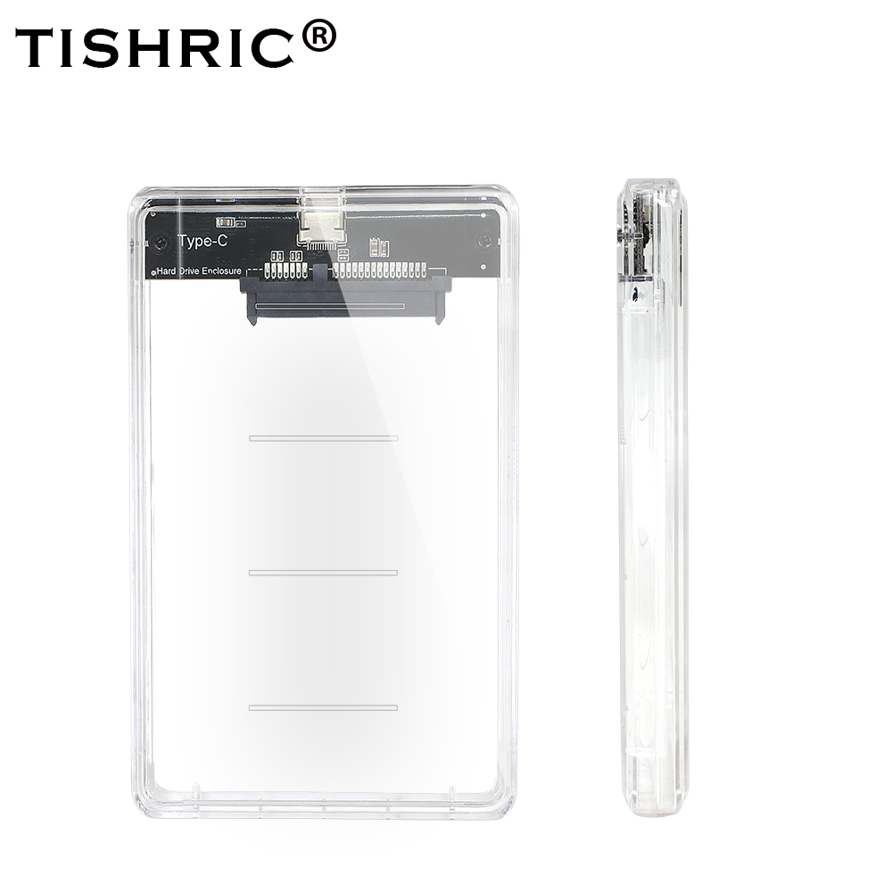 TISHRIC Newest Transparent USB3.0 Type-C SSD Case Adapter DVD HDD Sata Caddy Optibay 9.5 Mm 2.5 Inch Box Hard Drive Enclosure