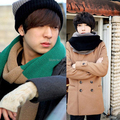 New Style Vogue Men Winter Color Block Woolen Knitted Long Scarf Shawl Hot Sale