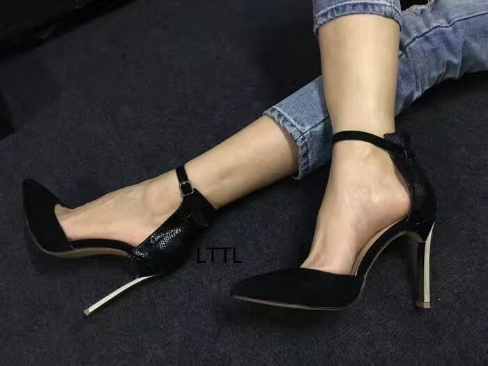 Trendy Black Suede Snakeskin Matched Pointy Thin High Heels Women Fancy Line Buckle Style Metal Stiletto Heel Pumps Hot Selling trendy style stiletto heel and double buckle design women s sandals