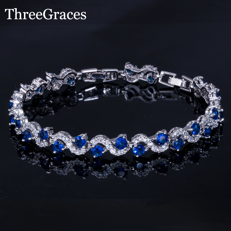 ThreeGraces European Style White Gold Color Royal Blue Zircon Crystal Bracelets Bangles Women Luxury Wedding Jewelry Gift BR058