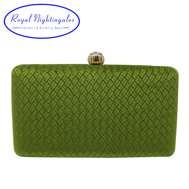 Royal Nightingales Weave Velvet Suede Hard Box Clutch Bags Evening Clutches And Handbags For Womens Green