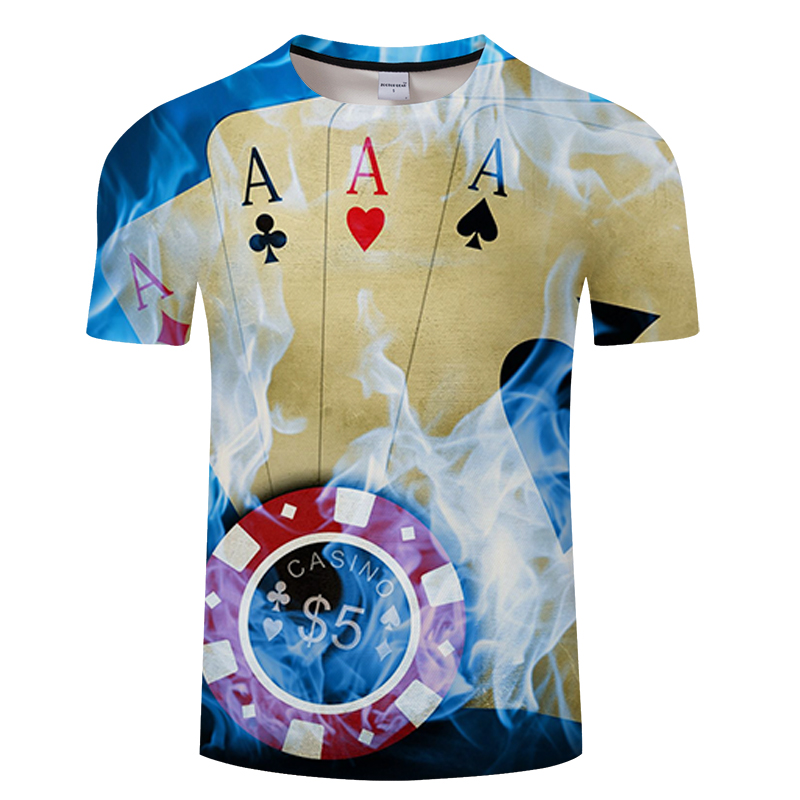 Brand Poker T shirt Playing Cards Clothes Gambling Shirts Las Vegas Tshirt Clothing Tops Men Funny 3d t-shirt Asian size s-6xl