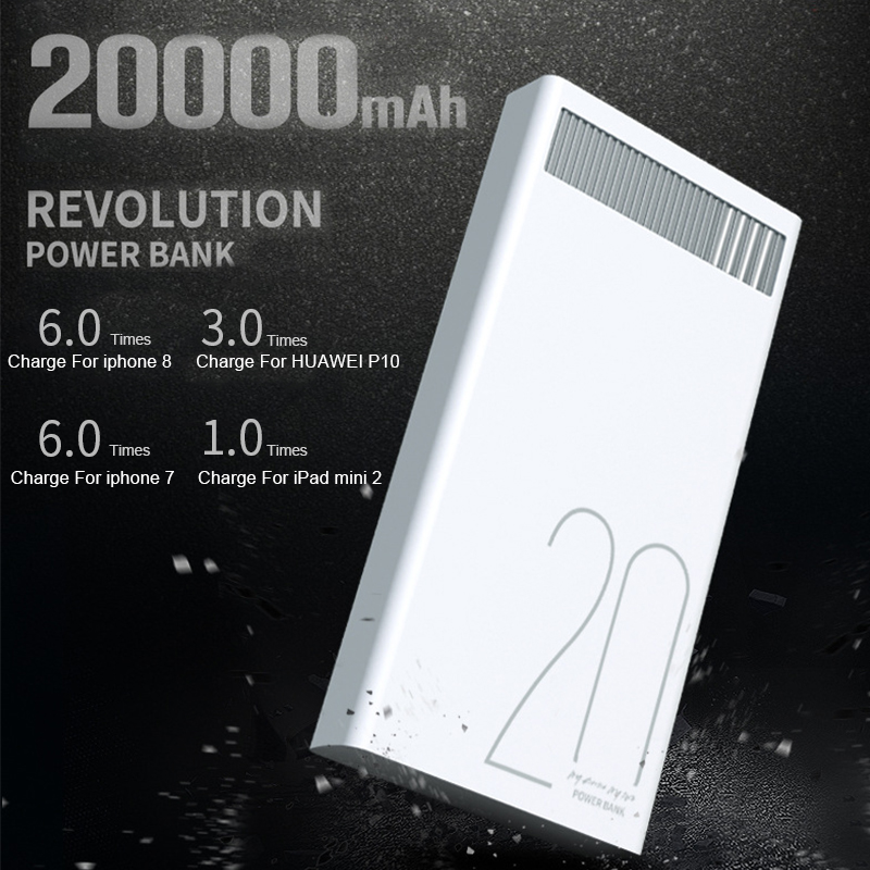 Remax 2.4A 20000mAh Quick Charge Power Bank Polymer Battery Dual USB Charging for Xiaomi Samsung Tablets 20000 mah Poverbank