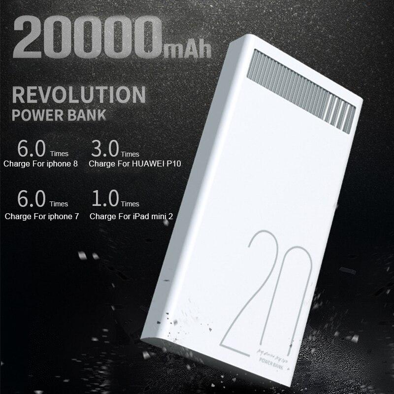 Remax 2.4A 20000 mAh carga rápida del Banco de la energía batería del USB Dual que carga para Xiaomi Samsung Tablets 20000 mAh Poverbank