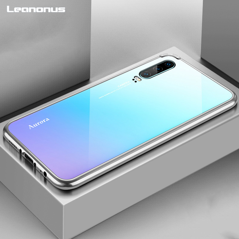 For Huawei P30 P30Pro Case Aurora Metal Frame Shockproof Tempered Glass Hard Back Cover  ...