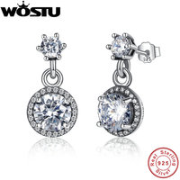 Real 100 925 Sterling Silver Classic Elegance Drop Earrings With Clear CZ For Women Luxury Authentic