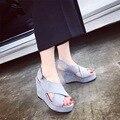 MS летняя мода стиль водонепроницаемый рыбы рот обувь женская обувь на высоких каблуках толщиной клин нижней платформы сандалии женщина прилив