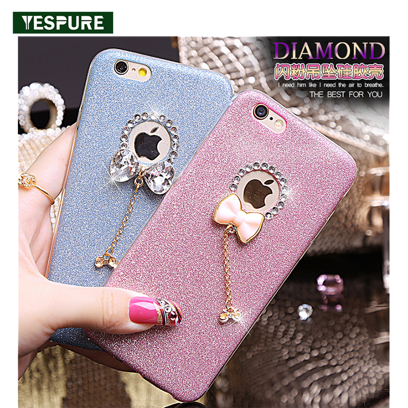 YESPURE Bling Gliter Lovely Bowknot Phone Case Cover Girl for Iphone - Ανταλλακτικά και αξεσουάρ κινητών τηλεφώνων - Φωτογραφία 1