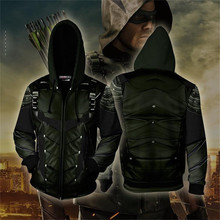 Movie Green Arrow Cosplay Costume 3D Printed Sweatshirt Hoodie Men Fashion Hooded Jacket Spring Autumn Coat