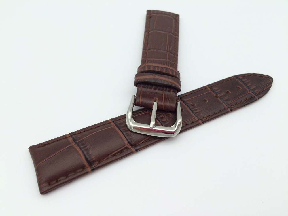 20mm Wholesale New genuine leather black or brown crocodile grain strap watch band pin buckle without brand free shipping free shipping wholesale black brown perlon strap braided watch strap 20mm watchband with buckle